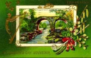 An olde Irish postcard from about 1911. The bridge is called Old Weir Bridge near Dinis, Ireland in Killarney National Park. Wouldn't you love to be sittin' there with your bonnie darlin' on St. Patrick's Day?