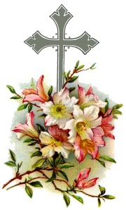 cross with beautiful flowers, antique