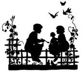 silhouette, boy and girl