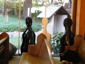 Cello carrying cases were lined up along the window, almost resembling a person's body, at Our Lady of the Lake Catholic Church during the San Bernardino Symphony Orchestra's performance last year.