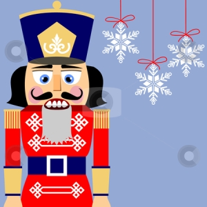 Nutcracker and snowflakes