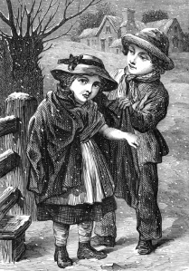 children in winter, vintage