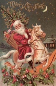 Santa on toy reindeer, antique
