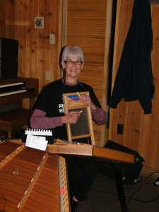 A washboard has more than one purpose, as Diane Grady showed during a previous performance of Grits 'Grady. Great fun!