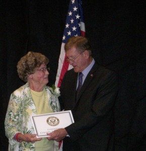 Penny Shubnall with the award she received from Congressman Paul Cook last year.