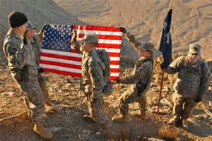 soldiers holding flag