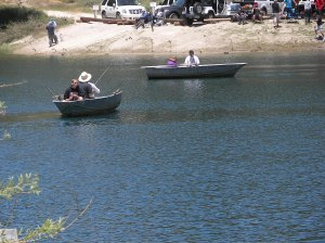 Enjoying life in a rowboat on Green Valley Lake.