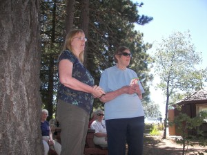 George Hesemann's daughter joined ROWIA member Gloria Anderson at the dedication of the trail to her dad, George.