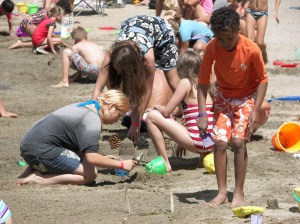 Kids, kids all over the place when they participate in the fabulous sand castle building contest. It's hard to tell who has more fun...the kids or their parents or grandparents.