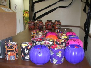 Colorful Containers of candy sit in Hootman Center before the annual event began. I wonder how much was left...I'm betting not much!