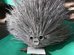 One of the very creative displays at the PIne Cone Festival was this great porcupine sprayed gray which was part of the pine cone competition. Very clever!