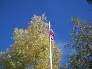 Long may she wave! A new flag was erected at the Running Springs monument area.