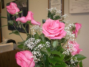A gorgeous bright pink flower arrangement at the Lake Arrowhead School of Dance.