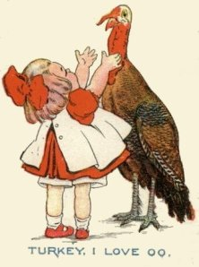 Thanksgiving turkey with little girl, antique